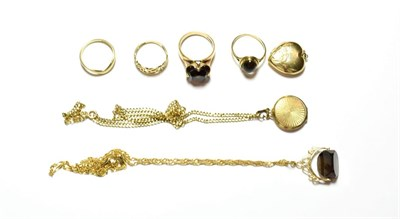 Lot 53 - A collection of jewellery including two 9 carat gold rings, finger sizes J and L; two 9 carat...
