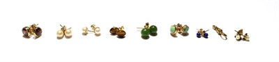 Lot 55 - A clasp, stamped '9CT'; a pair of 9 carat gold earrings; a pair of earrings, stamped '9CT'; a...