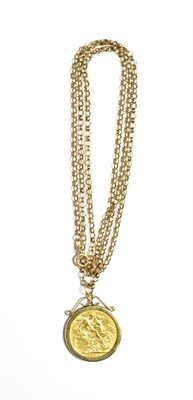 Lot 56 - An 1880 Melbourne, Australia sovereign loose mounted as a pendant on a 9 carat gold chain,...