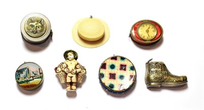 Lot 63 - Six various tape measures, one circular, the cover with a depiction of the Crystal Palace;...