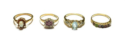 Lot 65 - A 9 carat gold opal and garnet cluster ring, finger size P; and three further 9 carat gold gem...