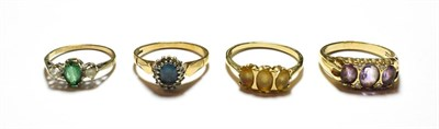 Lot 66 - A 9 carat gold amethyst and diamond ring, finger size S; and three further 9 carat gold gem set...
