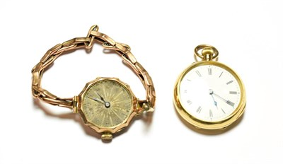Lot 69 - A lady's fob watch with case stamped 18k and a lady's 9 carat gold wristwatch (2)
