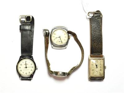 Lot 71 - A silver Art Deco rectangular wristwatch, a J.W. Benson chrome plated wristwatch, a Smiths...