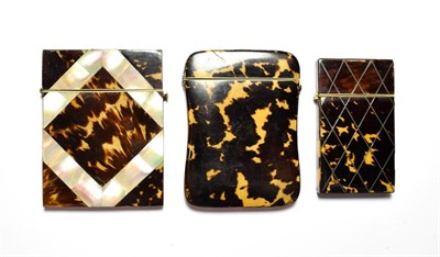 Lot 72 - Three tortoiseshell card cases inlaid with mother of pearl