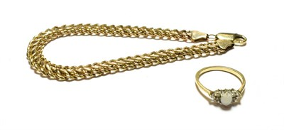 Lot 77 - A 9 carat gold double row curb link bracelet, length 19.5cm; and a 9 carat gold opal and...