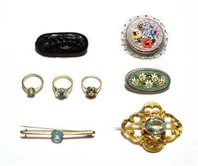 Lot 80 - A gem set ring, stamped '18CT', finger size H1/2; two 9 carat gold gem set cluster rings; a gem set