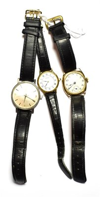 Lot 86 - A 9 carat gold cushion form wristwatch, a plated Seiko lady's wristwatch, and a gent's...