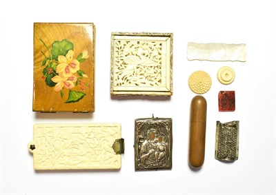 Lot 88 - A 19th century Canton carved ivory aide memoir, a carved ivory Chinese puzzle, silver...