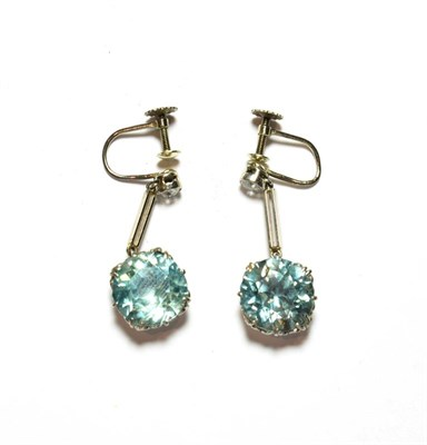 Lot 89 - This Lot Is Being Sold on Behalf of a Charity: a pair of blue zircon and diamond drop earrings,...