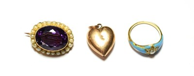 Lot 92 - An amethyst and split pearl brooch, stamped '9CT'; a 9 carat gold heart shaped pendant; and an...