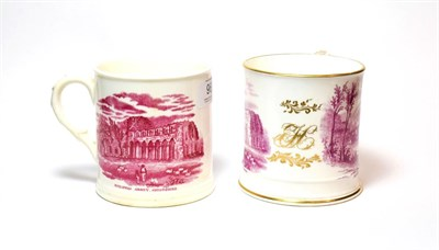 Lot 96 - Two 19th century transfer printed mugs, both depicting scenes of ''Ironbridge Shropshire'', and...
