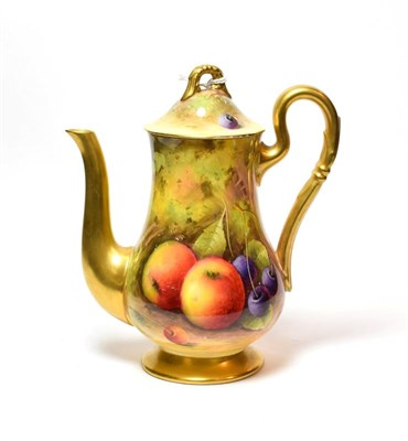 Lot 98 - A Royal Worcester fruit decorated coffee pot, signed A Shuck, 17.785cm high.