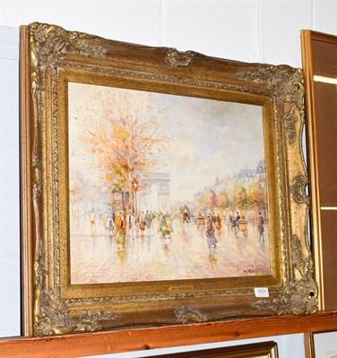 Lot 1001 - Morgan John Rendell (20th Century), Parisian Street scene, oil on board, 40cm by 50cm