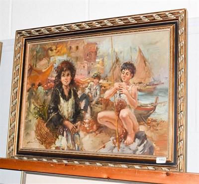 Lot 1002 - Nino Salvadori (b.1918), Children of Naples, oil on canvas, 48.5cm by 68.5cm