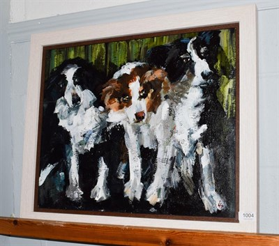Lot 1004 - Lesley Heath (Contemporary) Waiting their turn at the sheep dog trials, initialled, oil on...
