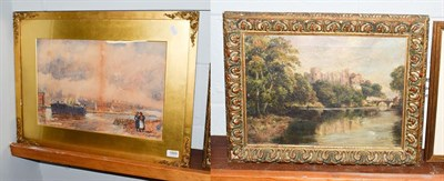 Lot 1005 - R. Sinclare (19/20th century) Barnard Castle from the river, signed, oil on canvas 24cm by...