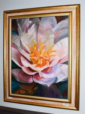 Lot 1010 - Nancy Murgatroyd (Contemporary) ''Dream Away'' study of a camellia, signed, oil on canvas, 59cm...