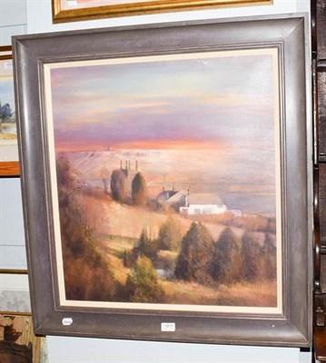 Lot 1011 - Bohuslav Barlow (b.1947) Czech ''Cross Stone-Dusk'' Signed, oil on canvas, 65cm by 59.5cm...