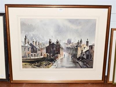 Lot 1015 - John Barrie Haste (1931-2011) Northern street scene, signed watercolour, 47cm by 66cm