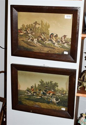 Lot 1019 - After d'Orschwiller (19th century) Monkeys dressed as jockeys riding hounds to the Charenton insane