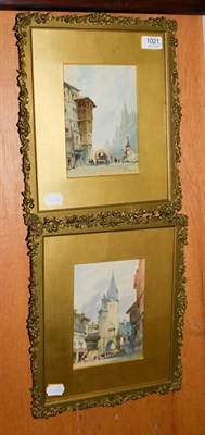 Lot 1021 - James Duffield Harding (1798-1863), a pair of watercolours of street scenes, signed