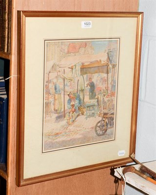 Lot 1023 - Thomas Matthews Rooke RWS (1842-1942) Lisieux Normandy, market scene, watercolour, signed and dated