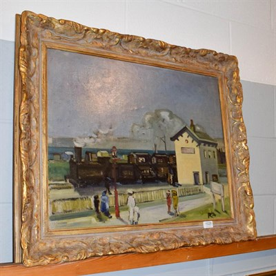 Lot 1025 - Manner of Bertram Priestman, figures before a train station in Northern France, initialed BP...