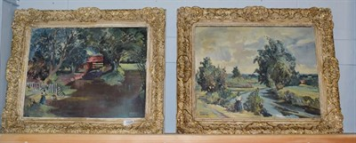 Lot 1028 - Danton Adams RA (1904-1990) Pair of Plein-Air landscapes with figures, oil on canvas, both...
