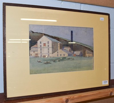 Lot 1030 - Kenneth Holmes, sheep grazing before a mill, signed and dated 1925, watercolour, 23cm by 34.5cm