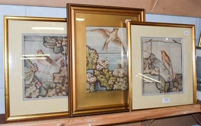 Lot 1031 - British School (late 19th century) Three bird studies in the Aesthetic movement style, watercolour
