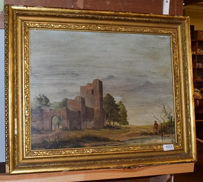 Lot 1033 - British school (20th century) Figures amongst a ruin, indistinctly signed, oil on board, 38cm...
