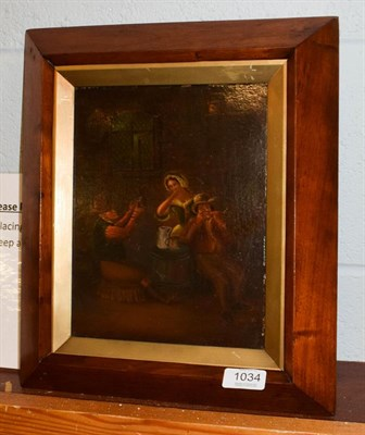 Lot 1034 - After van Ostade, Figures merry making in a tavern, oil on panel, 24.5cm by 19cm