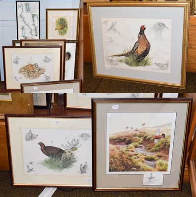 Lot 1037 - Of sporting interest, a quantity of pictures and prints depicting game birds, together with a...