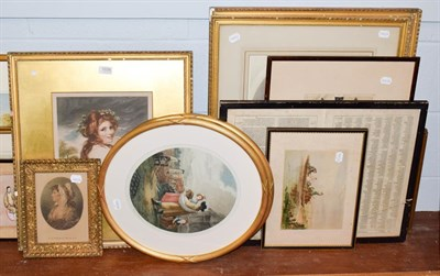 Lot 1038 - A quantity of pictures and prints to include works after Joshua Reynolds, Gainsborough etc (12)