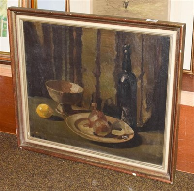 Lot 1041 - Ronald Allen, still life with a lemon and a bottle of wine, signed oil on canvas, 49.5cm by 60cm