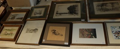 Lot 1047 - Nine pictures comprising two oils 'Small winter fields' by Norman Battershill, two small...
