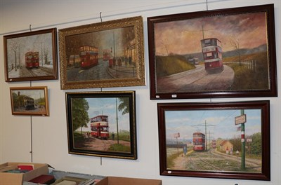 Lot 1048 - Three contemporary acrylics on board, street scenes with trams in Leeds by Paul Murphy, and...