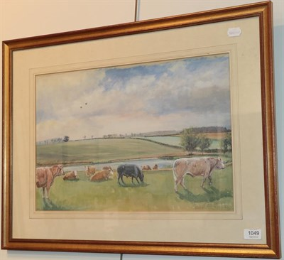 Lot 1049 - Robin Furness (b.1933) ''Mister George Hammond's Cattle'' signed and dated 19(82), gouache, 35cm by