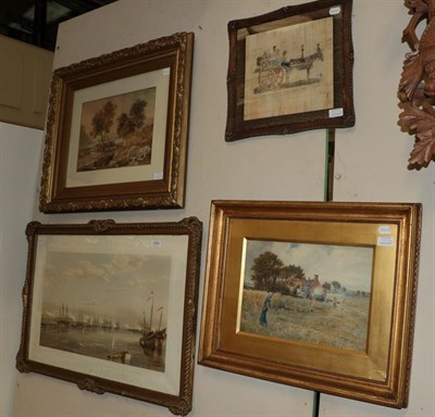 Lot 1054 - English School (19th/20th century) Rural landscape with figures and cottage, indistinctly...