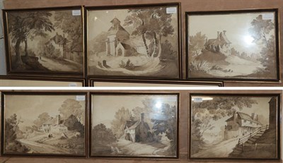 Lot 1061 - British School (early 19th century) A set of six rural scenes en grisaille, 26cm by 37cm and...