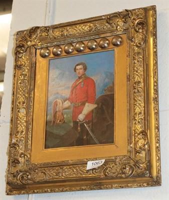 Lot 1063 - English School (19th century) Portrait of C.E. Basset Lennard, 5th D.G., gilt and gesso frame...