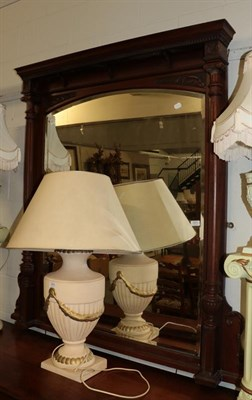 Lot 1071 - A late 19th century mahogany over mantel mirror, approx 140cm by 146cm