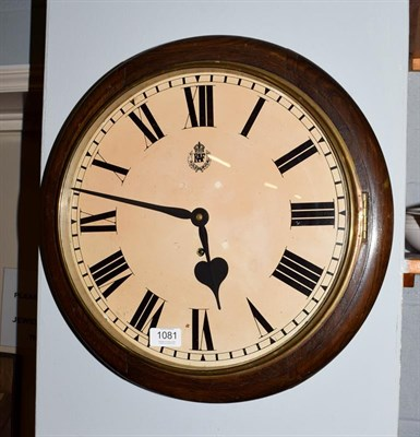 Lot 1081 - An oak cased wall timepiece, dial later inscribed 'RAF', 20th century