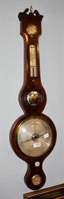 Lot 1082 - An inlaid mahogany wheel barometer signed F A Pizzala, 7 Charles Street, Hatton Garden
