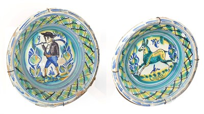 Lot 1 - ~ Two large 19th century Spanish Talavera type tin glazed earthenware bowls, one decorated with...