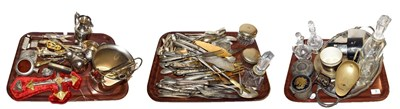 Lot 2 - ~ Three trays of assorted Continental silver and silver plate, including gilt utensils, cream jugs