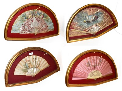 Lot 4 - ~ Four fans each in a gilt framed wall hanging display case, including one decorated with a...
