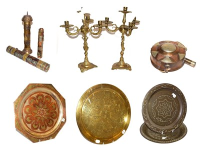 Lot 5 - ~ A quantity of mainly Eastern brass and copper items, including three cylindrical scroll...
