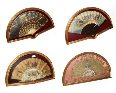 Lot 9 - ~ Four fans each in a gilt framed wall hanging display case, comprising two with bone sticks...
